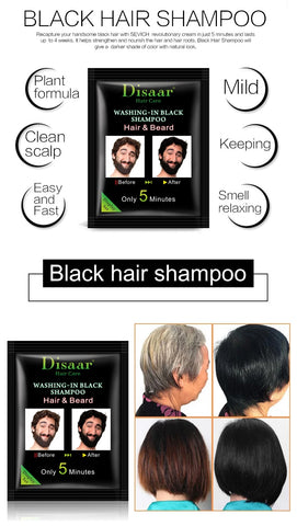 DISAAR 5 Minutes Washing-In Black Dye Shampoo for Hair and Beard (10pcs/pack)