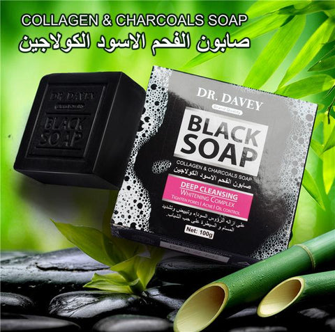DR.DAVEY Bamboo Charcoal And Collagen Whitening Soap | Anti-Acne And Skin Moisturizing Black Soap