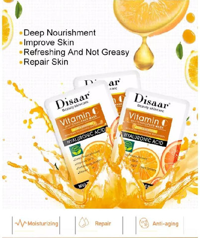 DISAAR Vitamin C Whitening Face Mask | With Hyaluronic Acid and Berry Glutathione