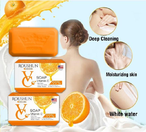 Image of ROUSHUN Vitamin C Soap With Aloe Vera And Hyaluronic Acid | Anti-Aging Brightening Soap