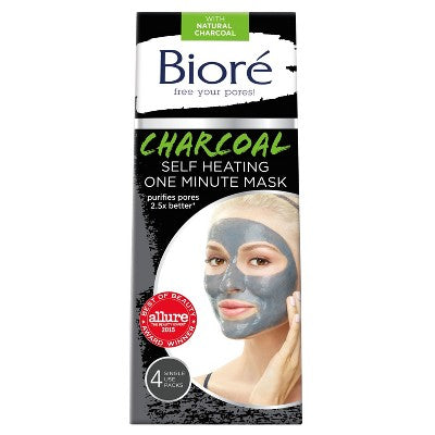 Biore® Self Heating One Minute Mask -  Natural Charcoal - 4ct