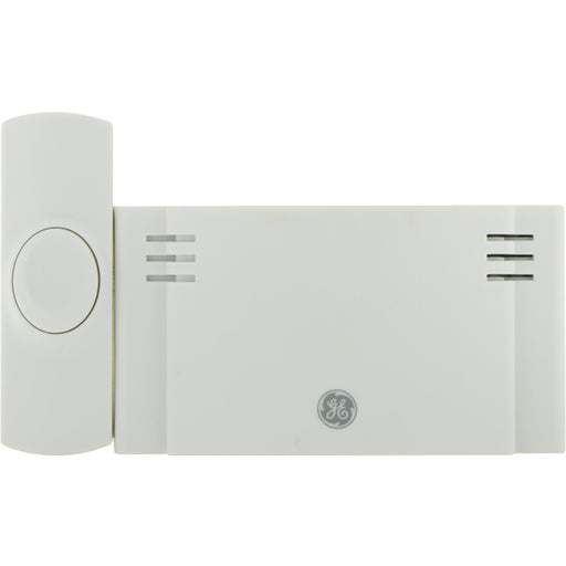 GE Wireless Doorbell Kit, 2 Chime Melodies, 1 Receiver, 1 Push Buttons, Battery-Operated, White, 19247