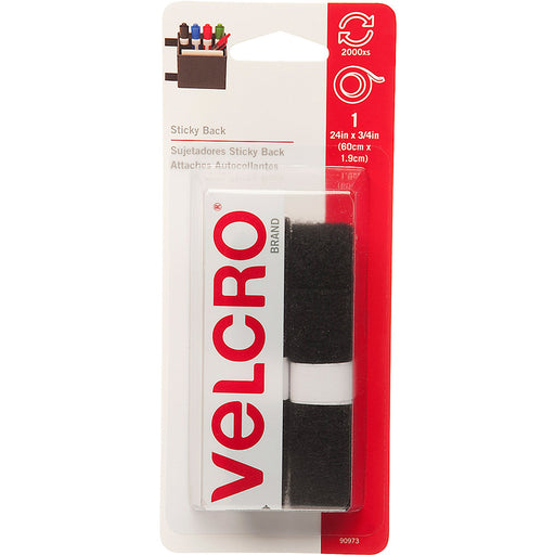 VELCRO® Brand Sticky Back 24in x 3/4in Roll, Black