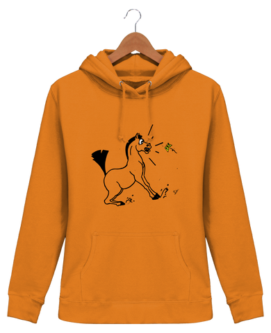 Sweat equitation femme cheval papillon orange