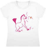 tee shirt dessin cheval fille papillon blanc