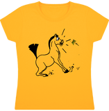 tee shirt dessin cheval fille papillon jaune or