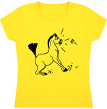 tee shirt dessin cheval fille papillon jaune