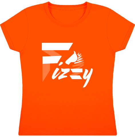 t-shirt equitation fille Fizzy demi-pension cheval poney orange