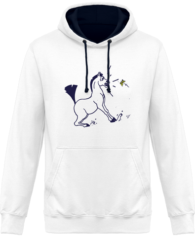 sweat bicolore cheval papillon
