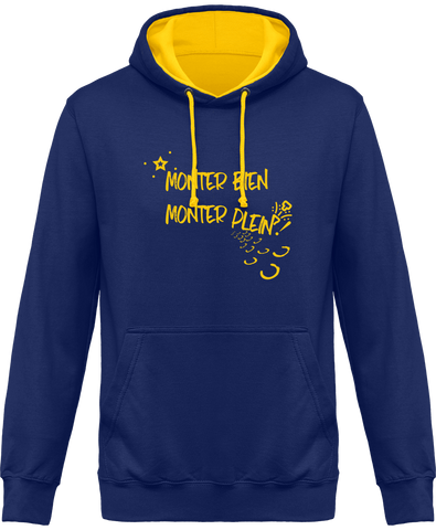 Sweat cheval bicolore monter bien monter plein bleu