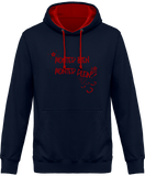 Sweat cheval bicolore monter bien monter plein navy capuche rouge