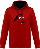 Sweat bicolore dessin cheval coccinelle rouge
