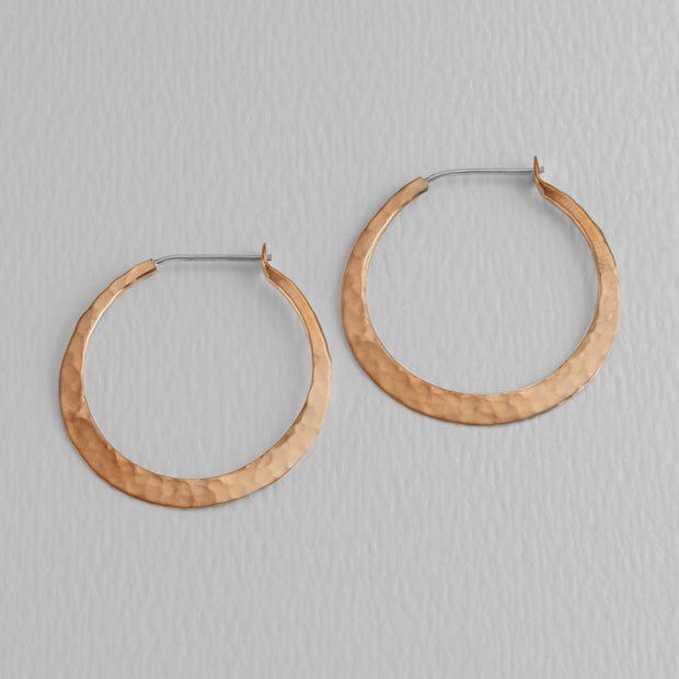 Hammered Copper Hoops, 32mm