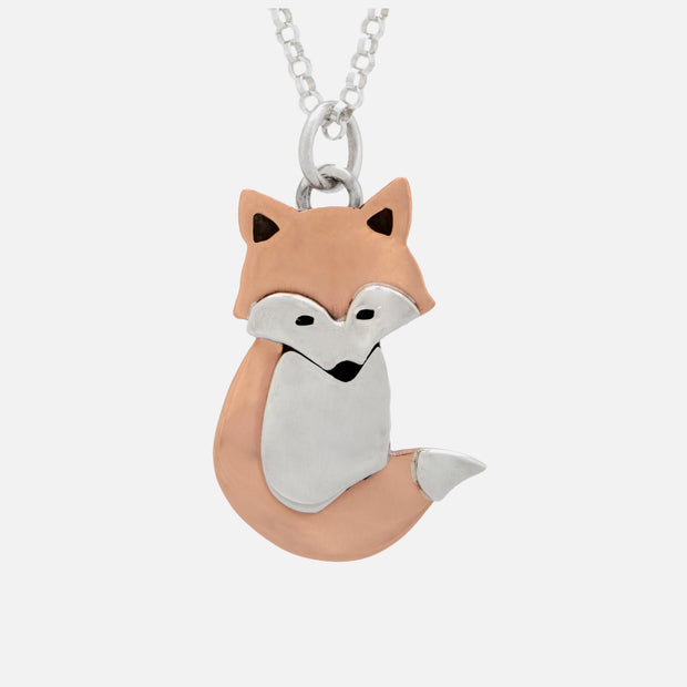 "Fanciful fox pendant on 18"" sterling silver chain"