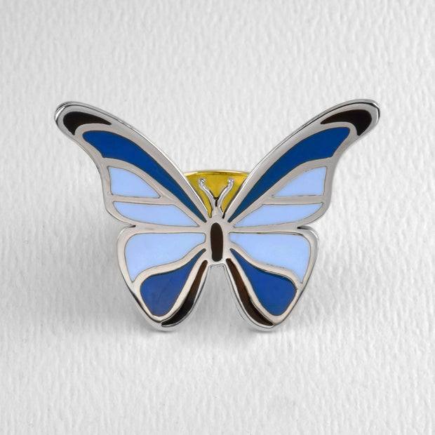 Blue Morpho Butterfly Ring in Full Color