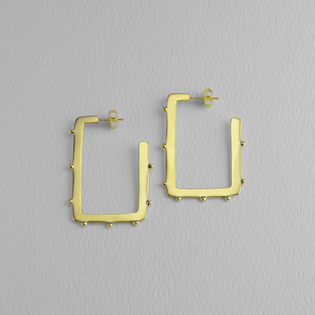 Square Studded Golden Hoops, 40 mm