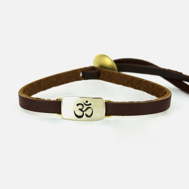 Ohm Symbol On Sienna Leather Bracelet