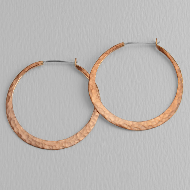 Hammered Copper Hoops, 40mm