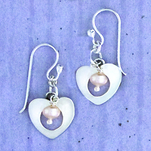 Sterling Heart And Pearl Earwire