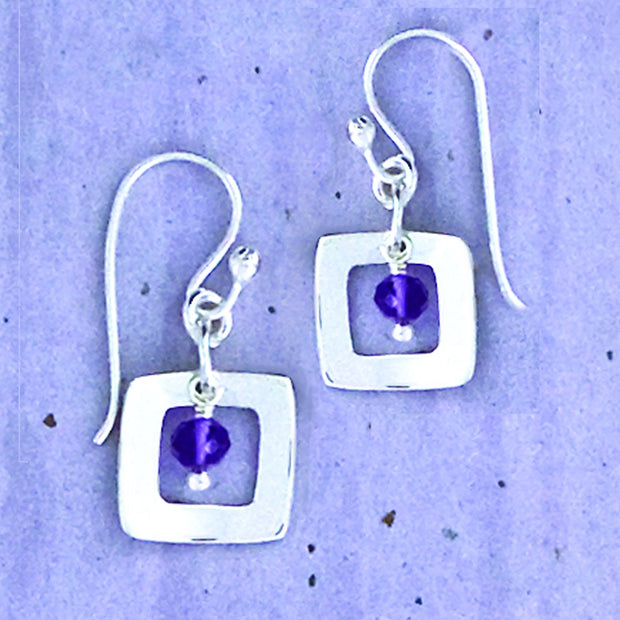 Sterling Square And Amethyst Earwire