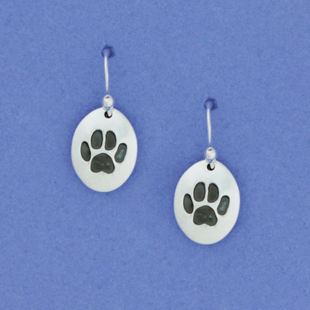 Paw Print Sterling Earwire