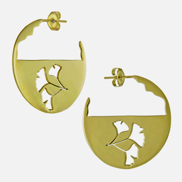 Ginkgo Silhouette Golden Hoops