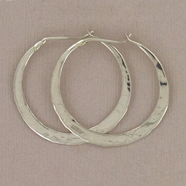 Hammered Sterling Hoops, 25mm