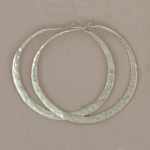 Hammered Sterling Hoops, 40mm