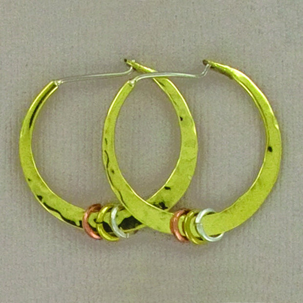 Hamered Copper Hoop With Rings, 32mm