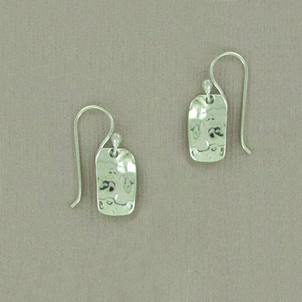Hammered Sterling Rectangle Earwire