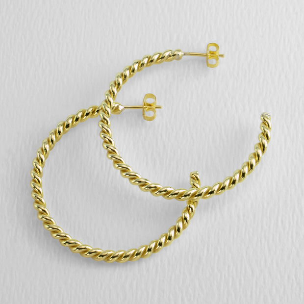 All Twisted Up Golden Hoops, 40 mm