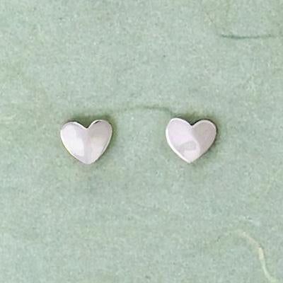 Hammered Heart Sterling Posts