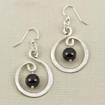 Twirling Hoop Black Swarovski Pearl Earwire, 23mm