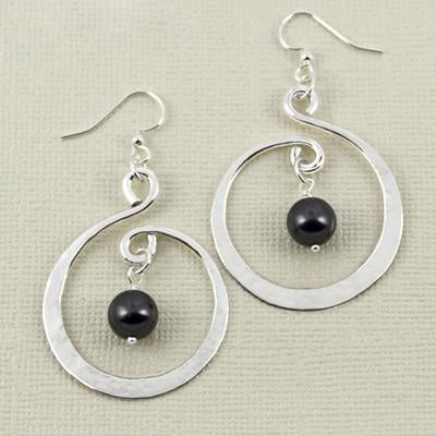 Twirling Hoop Black Swarovski Pearl Earwire, 30mm
