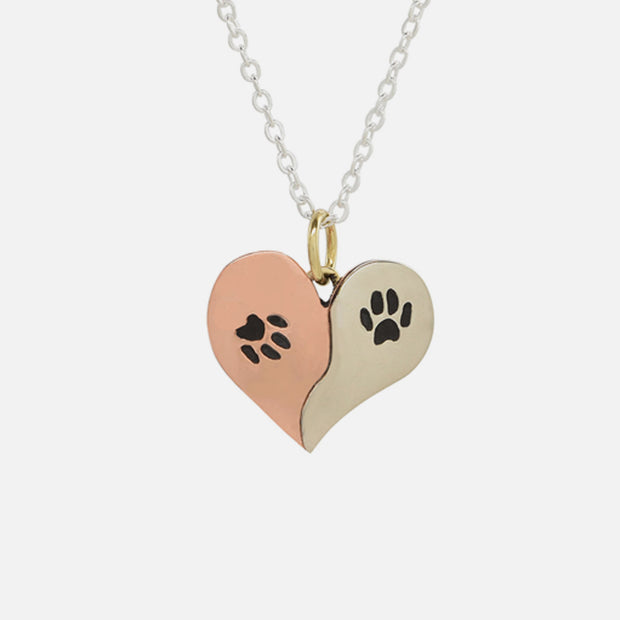 Double Paw Heart Necklace