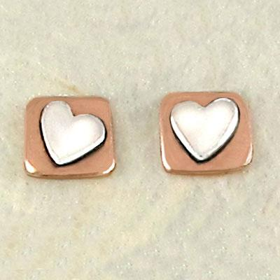 Copper Square Heart Sterling Posts