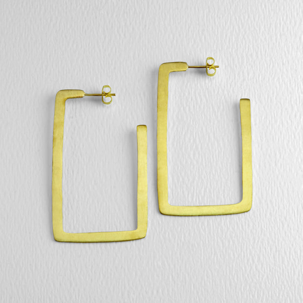 All Squared Up Golden Hoops, 60 mm