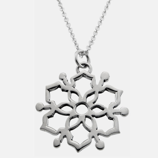 Moroccan Mandala Necklace- Silver