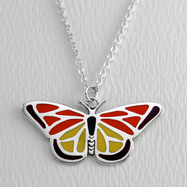 Monarch Butterfly Full Color Necklace