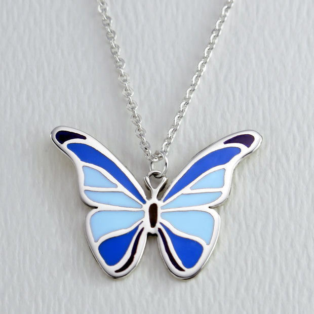 Blue Morpho Butterfly Full Color Necklace