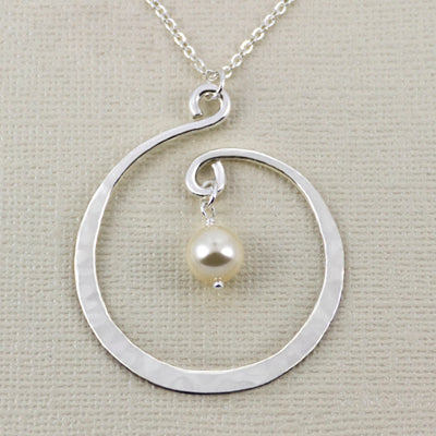 Twirling Hoop And White Swarovski Pearl Necklace