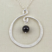 Twirling Hoop And Black Swarovski Pearl Necklace