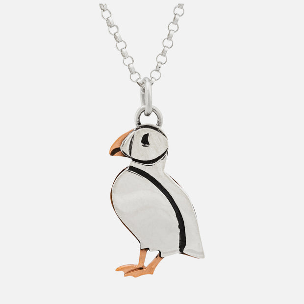 "Puffin pendant on 18"" silverplate chain"