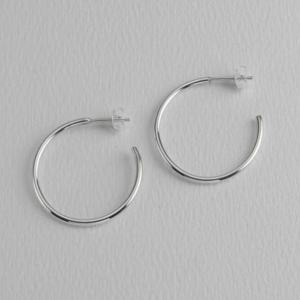 Everyday Roundware Sterling Hoops, 28 mm