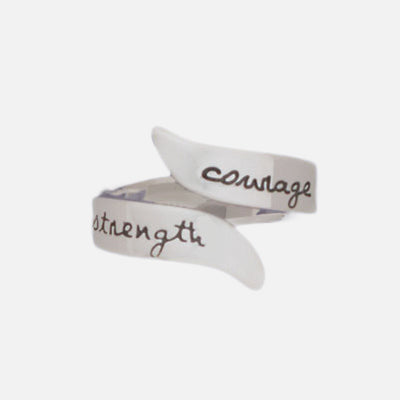 Courage Strength Sterling Adjustable Ring