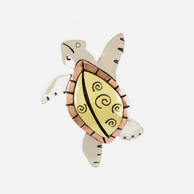 Wise Old Sea Turtle Brooch Pin