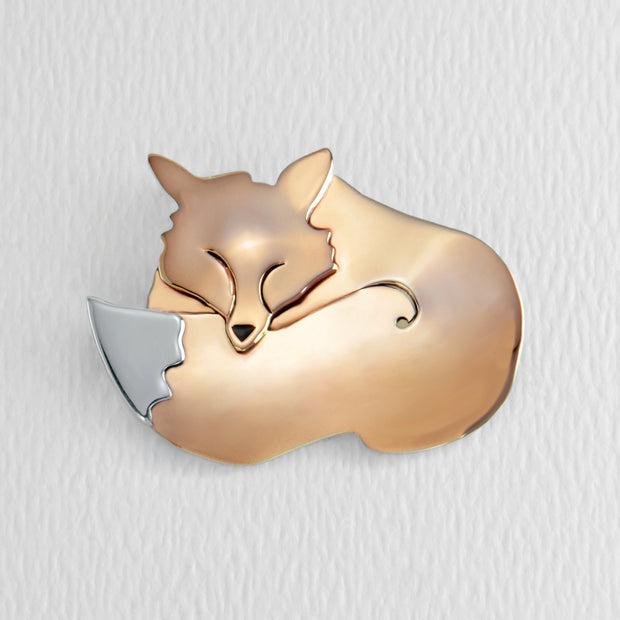 Slumbering Fox Sterling Brooch Pin