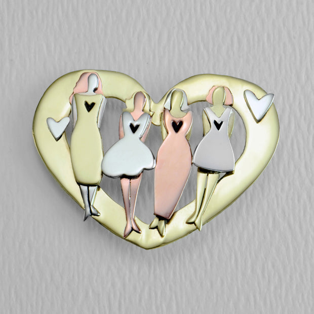 My Four Soul Sisters of Golden Love Brooch Pin
