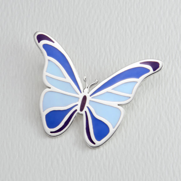 Blue Morpho Butterfly Brooch Pin in Full Color