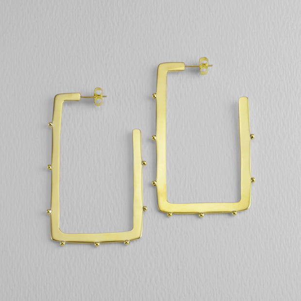 Square Studded Golden Hoops, 60 mm
